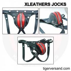 XLeathers Lederjock Schwarz-Rot mit Reißverschluss