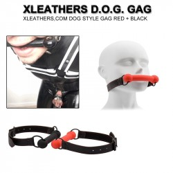 XLEATHERS D.O.G. GAG XLEATHERS,COM DOG STYLE GAG RED + BLACK
