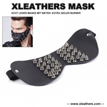 BONDAGE LEATHER MASK WITH STUDS BY XLEATHERS