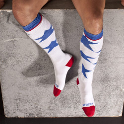 Barcode Berlin Berlin Mitte Socks Stars weiß / rot Football Socks. Sport und Fetisch