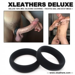 XLEATHERS DELUXE - 100% MEZ. SILICONE COCKRING schwarz