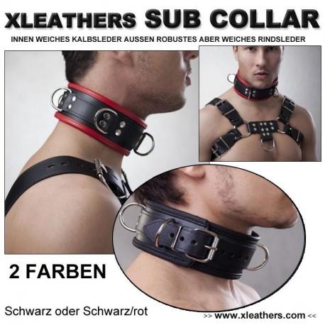 XLEATHERS - SUB - HALSBAND DELUX KALBS-RIDSLEDER 2 FARBENAUSWAHL