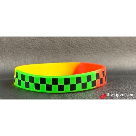 Silikon Regenbogen Schwarz Kariertes Armband