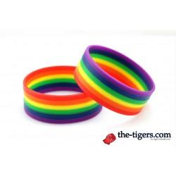 Wide silicone rainbow bracelet