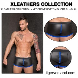 XLEATHERS COLLECTION - NEOPRENE BOTTOM SHORT BLACK-BLUE