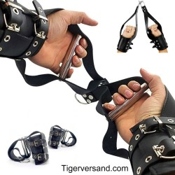Xleathers ® Buckle Fastening Leather Suspension Cuffs, 2 pieces